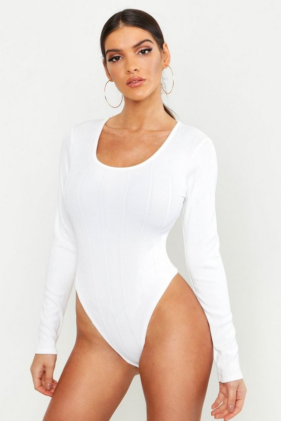 Womens White Bandage Rib Scoop Neck Long Sleeve Bodysuit