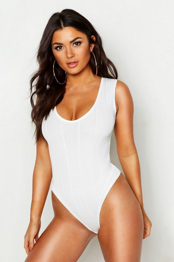 White Bandage Rib V Neck Sleeveless Bodysuit