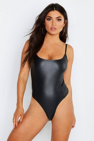 Black Matte Leather Look Seamed Strappy Bodysuit