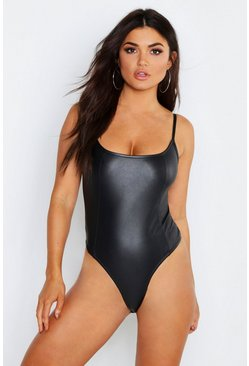 Womens Black Matte Leather Look Seamed Strappy Bodysuit