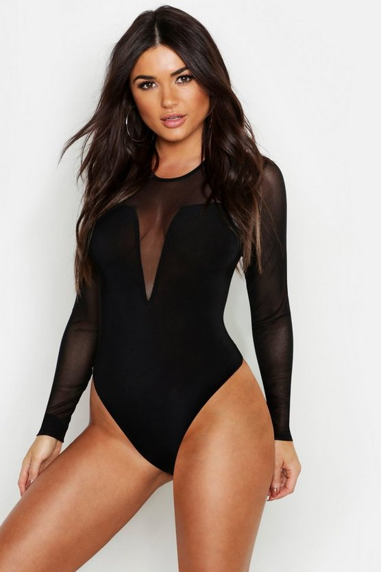 Plunge Square Neck Mesh Bodysuit