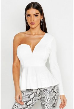 Womens White Crepe V Bar One Shoulder Peplum Top