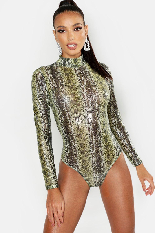Neon Snake Print Turtle Neck Mesh Bodysuit