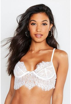 Womens White Premium Eyelash Scallop Bralet