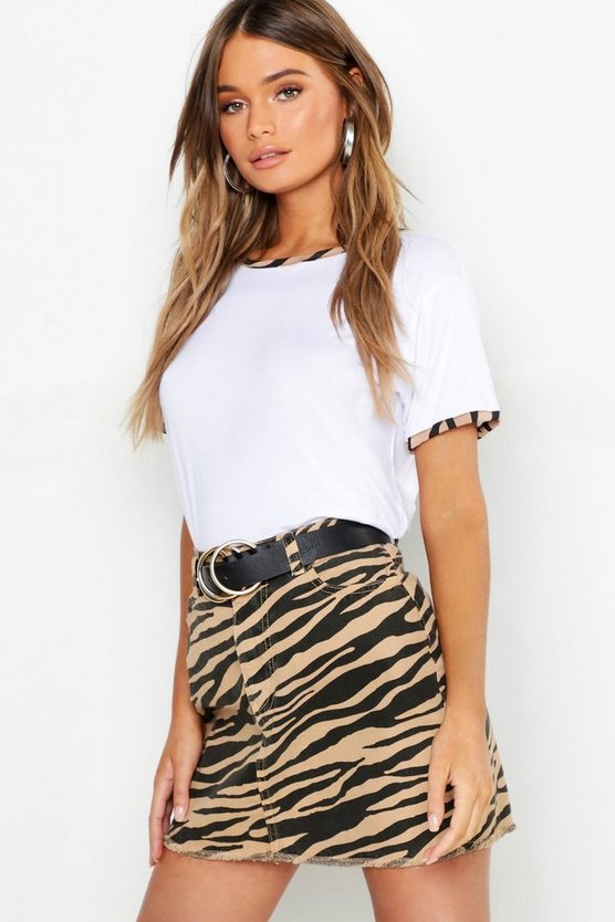 Womens White Zebra Ringer T-Shirt