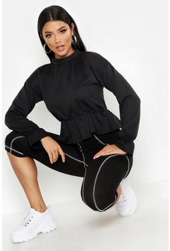 Womens Black Peplum Flare Cuff Sweat