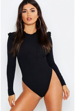 Black Ruffle Neck + Shoulder Bodysuit