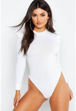 Womens Ivory Ruffle Neck + Shoulder Bodysuit