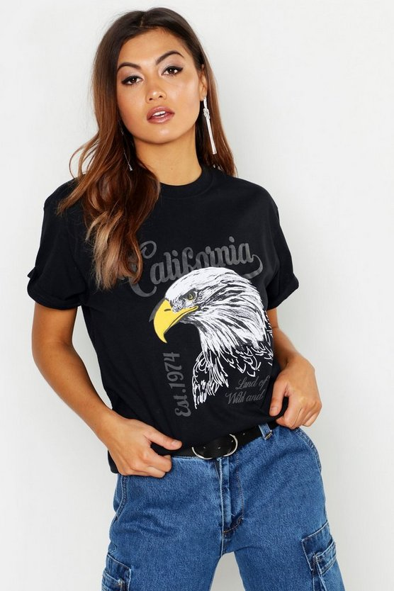Womens Black California Slogan Rock T-Shirt