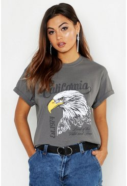 Womens Dark grey California Slogan Rock Oversized T-Shirt