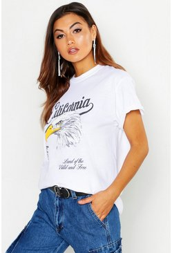 T-shirt rock con scritta California, Bianco