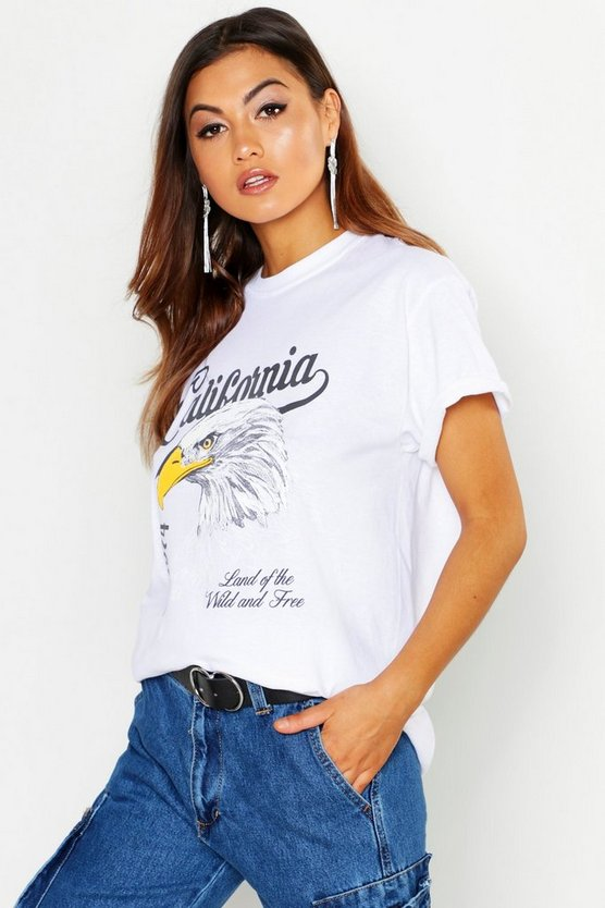 Rock-T-Shirt mit Slogan California, Weiß, Damen