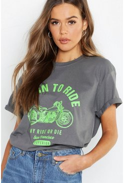 Womens Dark grey Born To Ride Neon Slogan Rock T-Shirt
