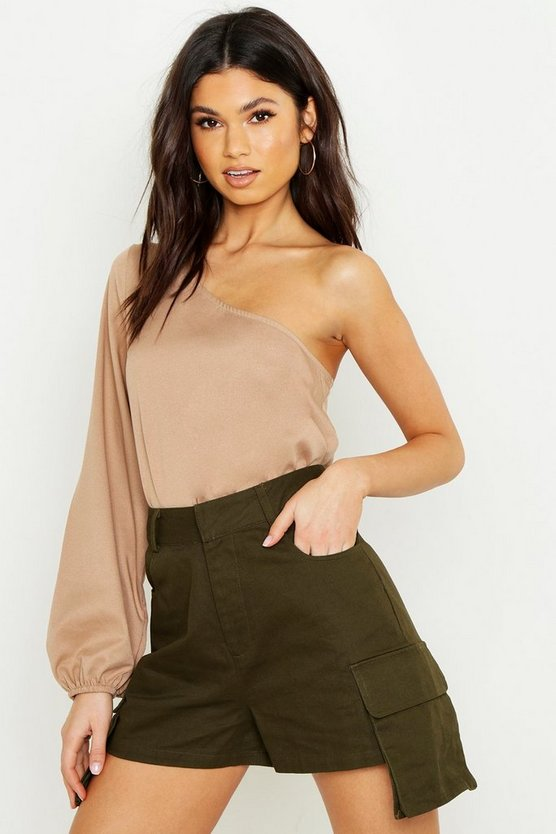 Womens Beige Woven One Shoulder Crop
