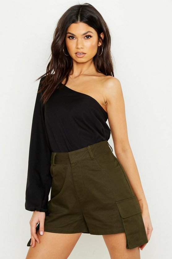 Womens Black Woven One Shoulder Crop