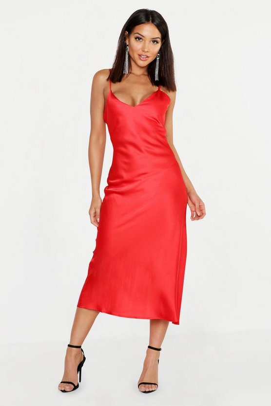 Womens Red Satin Slip Midi Dress