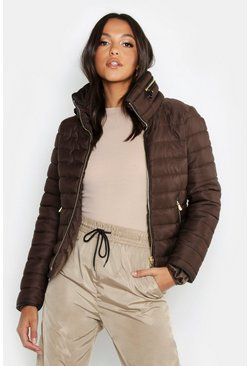 Womens Chocolate Quilted Jacket