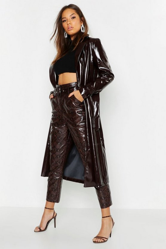 Womens Chocolate PU Belted Trench Coat