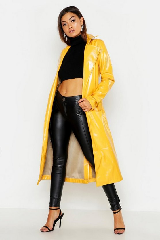 PU Belted Trench Coat