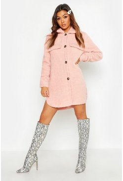Womens Pink Teddy Faux Fur Button Up Coat