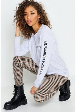Womens Grey marl Hustler Long Sleeve Slogan T-Shirt