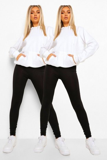 Womens Black 2 Pack Basic Highwaist Legging