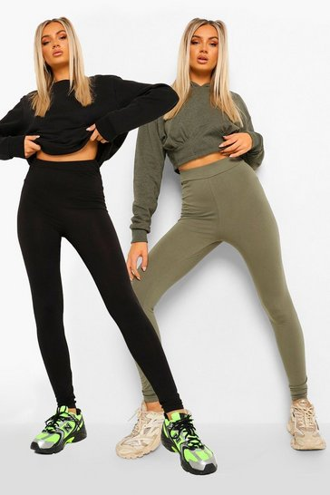 Womens Khaki 2 Pack Basic Highwaist Legging