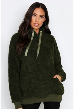 Womens Khaki Fit Teddy Fur Hoody