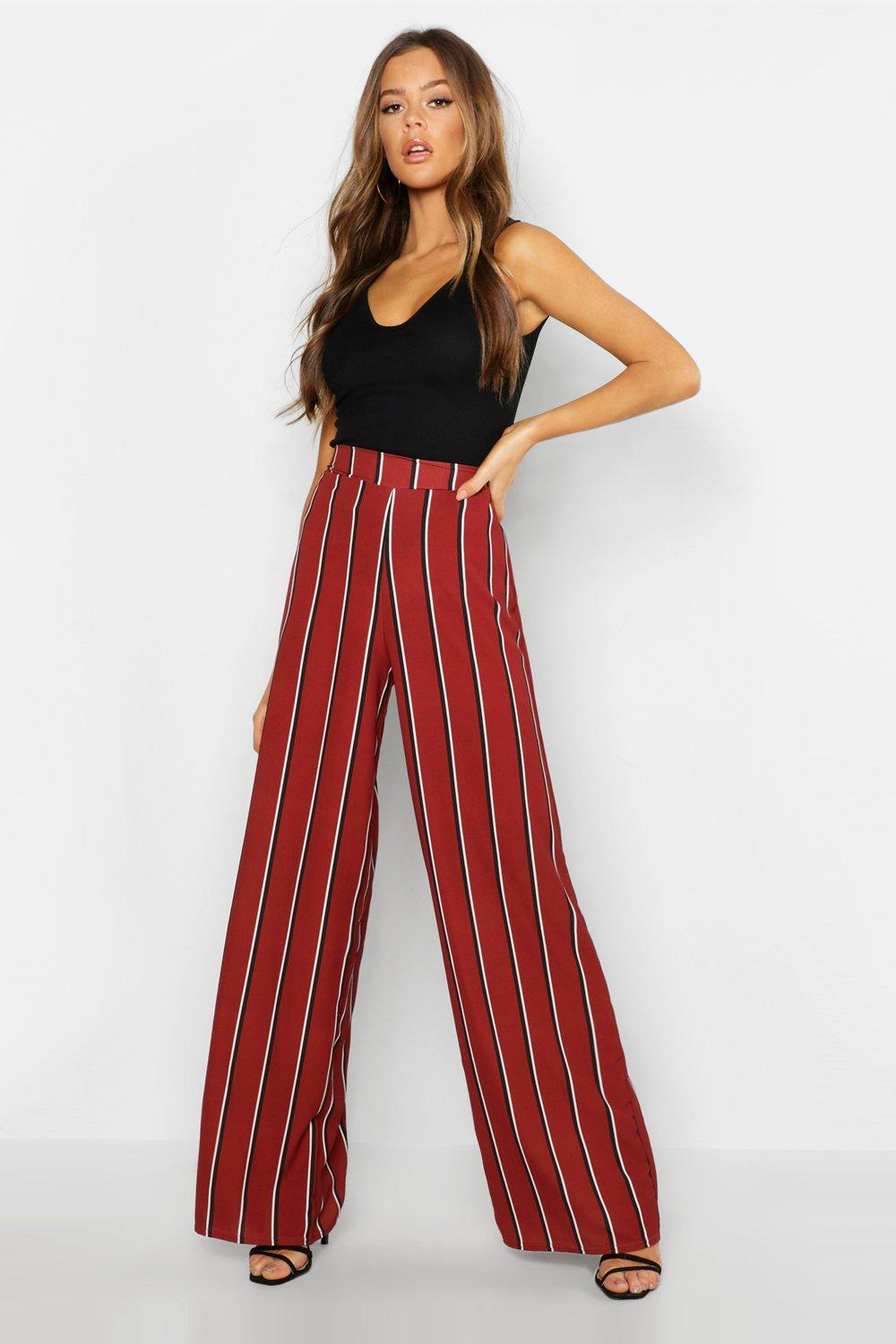 Woven Contrast Stripe Wide Leg Trousers