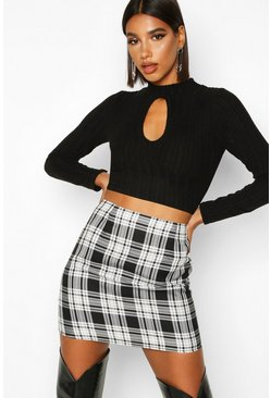 Womens Black Woven Large Check A Line Mini Skirt