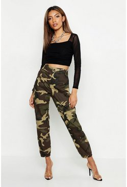 Womens Khaki High Waist Camo Cargo Trouser