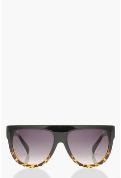 Womens Black Leopard Oversized Flat Top Sunglasses