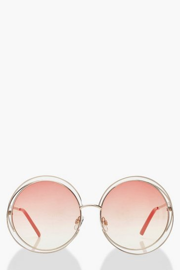 Red Ombre Coloured Lens Round Sunglasses