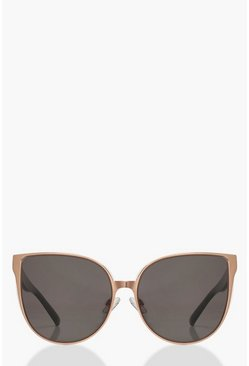 Womens Brown Oversized Retro Sunglasses