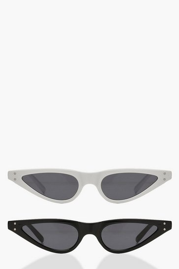 2 Pack Skinny Cat Eye Sunglasses