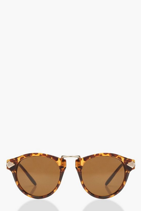 Womens Brown Tortoiseshell Contrast Round Sunglasses