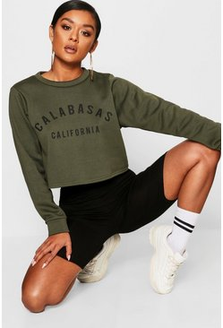 Womens Khaki Calabasas Crew Neck Crop Sweat