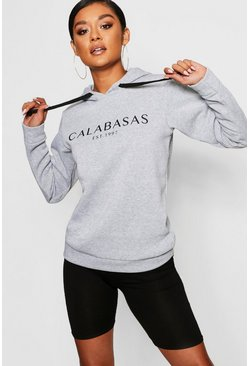 Womens Grey Calabasas Sweat Hoody
