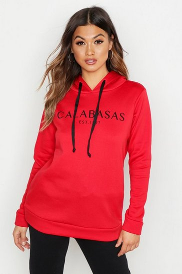 Womens Red Calabasas Sweat Hoody