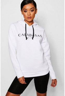 Womens White Calabasas Sweat Hoody