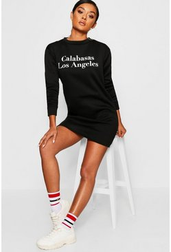 Womens Black Calabasas Crew Neck Sweat Dress