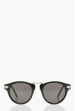 Womens Black Contrast Gold Round Sunglasses
