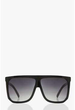 Womens Black Flat Top Oversized Sunglasses