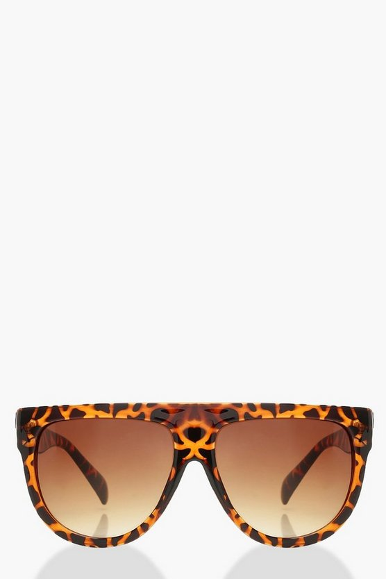 Womens Brown Leopard Flat Top Oversized Sunglasses