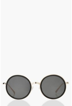 Gold Oversized Round Sunglasses