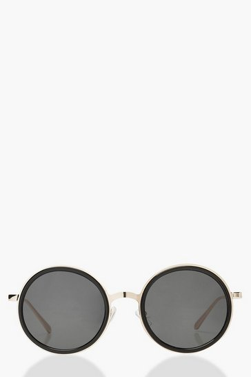 Womens Gold Oversized Round Sunglasses