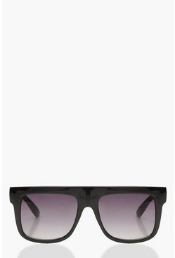 Womens Black Oversized Square Plastic Sunglasses