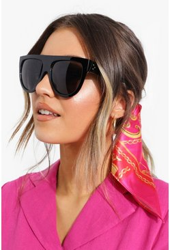 Womens Black Oversized Flat Top Sunglasses