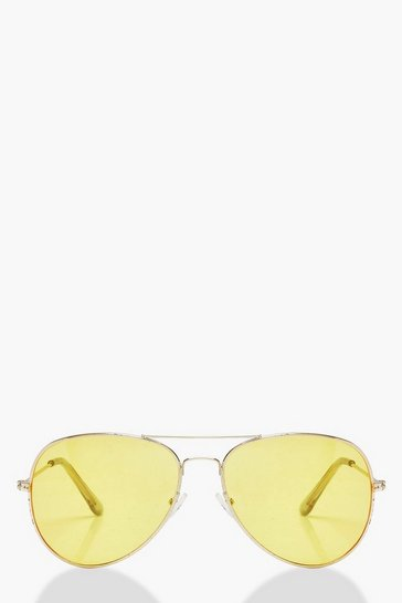 Womens Yellow Lens Aviator Fashion Sunglasses