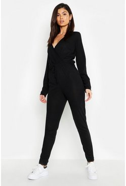 Womens Black Wrap Tie Waist Knitted Jumpsuit